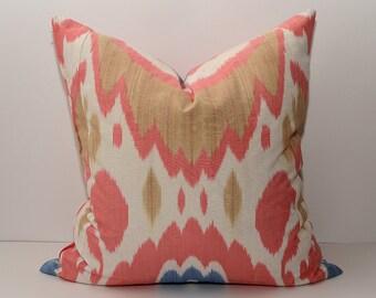 20x20, ikat pillow cover, pink and brown ikat pillow cover, ikat cushion cover, accent pillow, throw pillow