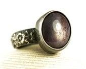 Star Ruby Ring, Antiqued Sterling Silver, Natural Gemstone, Handmade Custom Jewelry