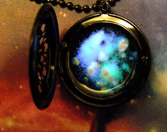 Glow In The Dark Galaxy Space Locket Necklace, Black Enameled