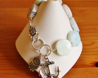 SALE - The snow flake bracelet lampwork large big chunky bold statement white anchor hamsa hand charm  modern lamp work funky white jewelry