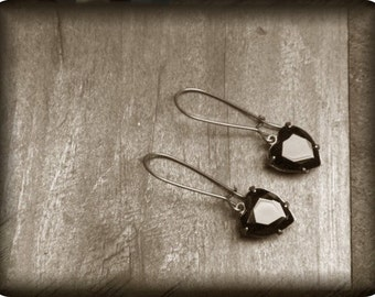 Dark Heart Handmade Gothic Black Glass Rustic Heart Earrings