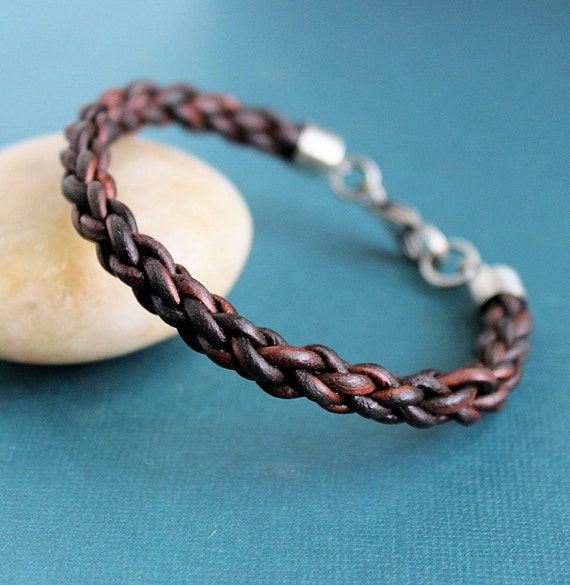 Mens Leather Bracelet Braided with Sterling Silver Clasp