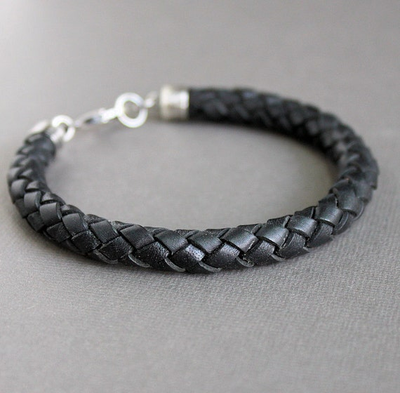 CLEARANCE Mens Leather Bracelet, Thick Braid Bracelet, Sterling Silver Clasp