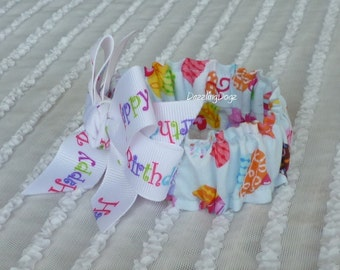 """Cupcakes on Blue Dog Scrunchie Collar with Happy Birthday bow - Size XXS: 8"""" to 10"""" neck - TrY Me PRiCe"""