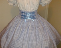 Dorothy Wizard of Oz Costume Blue and White Gingham Dress Womens Storybook Fairytale Halloween Costume Custom Size including Plus Sizes