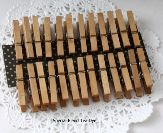 """100 Tea Stained Mini Clothespins 1"""" Clothespins, Wedding Favors, Party Supplies, Party Favors, Bag Clips, Crafts, Gift Wrap"""