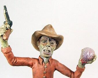 Zombie Horror Art Cowboy Sculpture