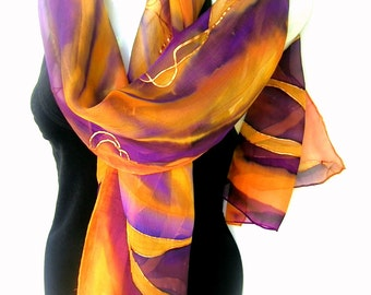 "Hand Painted Silk Scarf, Purple Golden Yellow Orange, Abstract Floral Design, 71"" Long Scarf,  Silk Chiffon Scarf, CUSTOM ORDER"