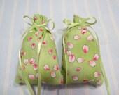 Lime Green Sachet-'Cherry Pineapple' Fragrance-Pink Floral Kitchen Sachet-Green Ribbon-Cotton Fabric Herbal Sachet- Ribbon-Cindy's Loft