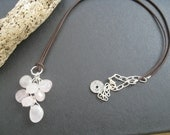 Cherry Blossom Leather Necklace, Pink Quartz Necklace Bohemian Necklace, Nature Inspired Jewelry,  Asian Sundance Style Necklace