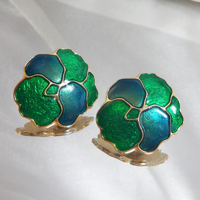 Vintage Pansy Earrings. Blue Green Guilloche Enamel Flowers