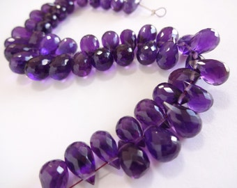 Take 15% off with 15OFF20, African AMETHYST Teardrop Briolettes, (1) Matched Pair, 8mm x 11mm, Purple Violet Gemstone
