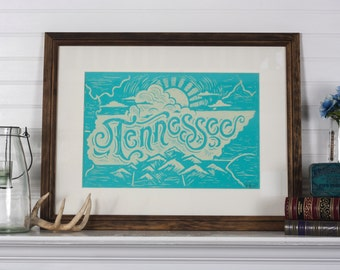 Tennessee State Blue - 12.5 x 19 Block Print