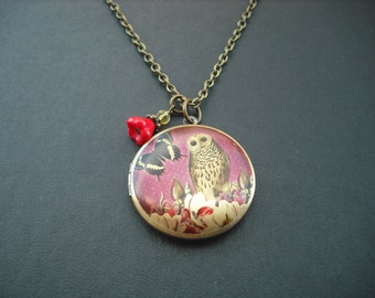 SALE - butterfly and owl altered photo locket necklace - only one avaialble