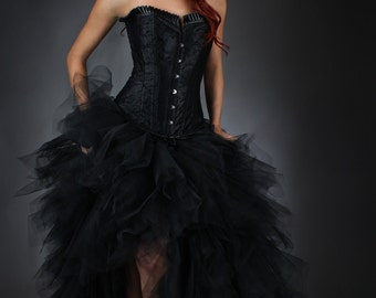 Custom Size Black tulle Burlesque Corset Prom Wedding Dress short in the front long train in the back Small- Xlarge