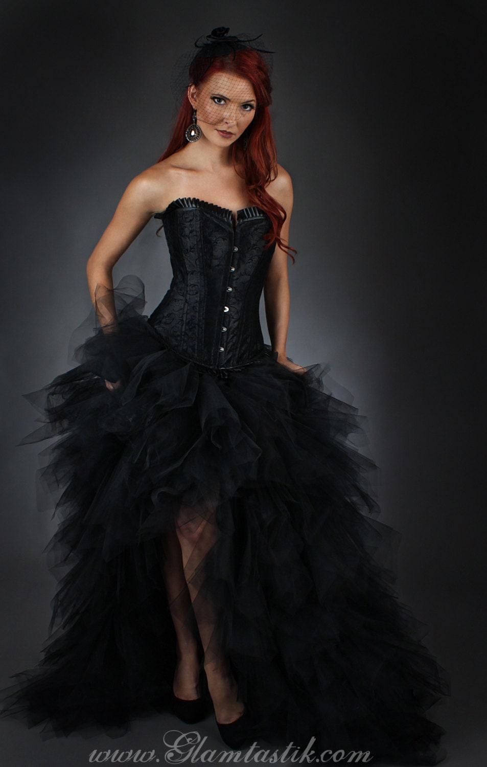 Custom All Stars >> Size Large tulle Burlesque Corset Dress short in the front