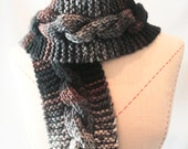 Knit Scarf  PomPom Cable  Statement Accessory brown, black, grey blue  Christmas In July