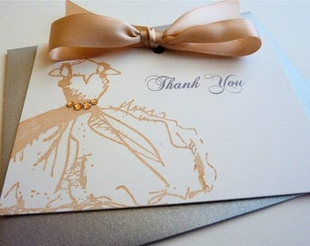 Thank You Card for Bridesmaids, Notecard for Bridal Party, Wedding Thanks, Set of 4