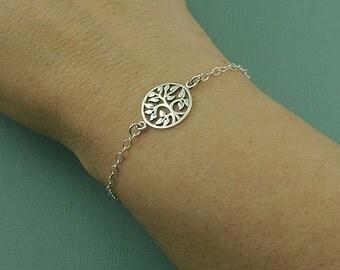 Tree of Life Charm Bracelet - Womens Sterling Silver Chain Bracelet - Tree Bracelet, Dainty Bracelet, Tree Jewelry , Trendy Bracelet