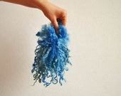 Hand dyed Teeswater wool locks turquoise cyan blue 30 gr for Doll Hair - Blythe Doll Hair ,  Art Dolls,  , spinning and felt