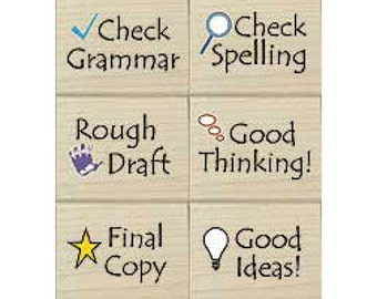 Notes to Students (6 Rubber Stamps for Teachers & Parents) Woodblock Craft Stamp (LL779)