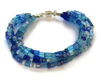 Blue Beaded Bracelet, Graduation Gifts, Gifts for Women Mom Wife Sister Daughter Grandma Teacher Under 20, Stocking Stuffers