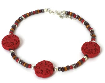 Red Flower Anklet, One of a Kind, Gift for Women Mom Wife Daughter Sister Grandma Under 30, Mothers Day, Birthday Christmas Gifts