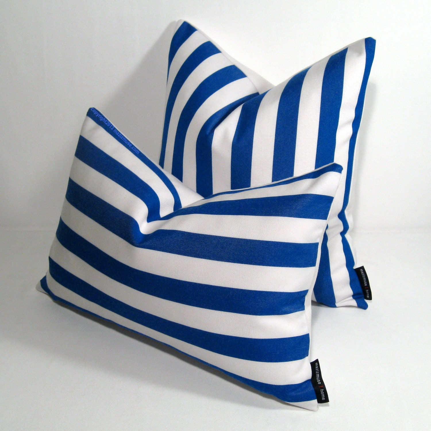 Blue White Striped Pillow Cover Modern Outdoor Pillow