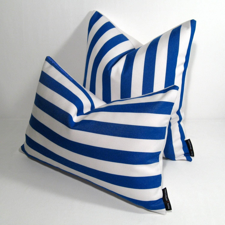 Modern Striped Pillows : Blue & White Striped Pillow Cover Modern Outdoor Pillow