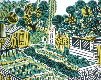 Allotment Plot Linocut Relief Original Print