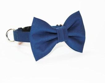 Dog Collar- Wedding Bow Tie Dog Collar- Navy Bow Tie