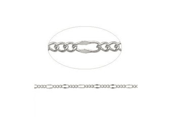 3-1 Silver Plate Figaro Chain - sold by the foot - 4.8mm long loop x 2.2mm small loop - jewelry craft chain