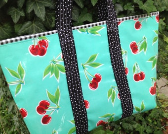 Large retro oilcloth tote bag with cherries and black gingham