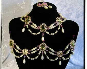 Dreaming of Spring Complete Set Custom Made Tudor Renaissance Necklace Girdle Bodice Jewels and Earrings