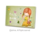 Children door sign, personalized kids art, green, girl with butterflies, red head girl