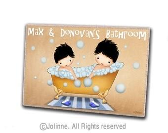 Boys bathroom sign, brothers bathroom art, personalized door sign, kids art, children room sign