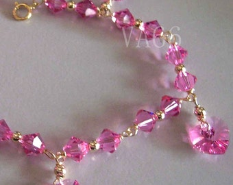 14K Gold Swarovski Bracelet Heart n Bicones Wire Wrapped Custom made Colors Bridesmaids, MOB, Flower Girl, Prom 925 Silver