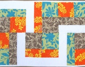 Bold Print Lap or Baby Quilt, Half and Half