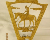ARROWHEAD MALE INDIAN on Horse Scroll Saw Plaque