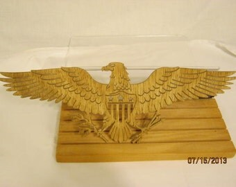 EAGLE WINGSPREAD SCROLL  Saw Plaque