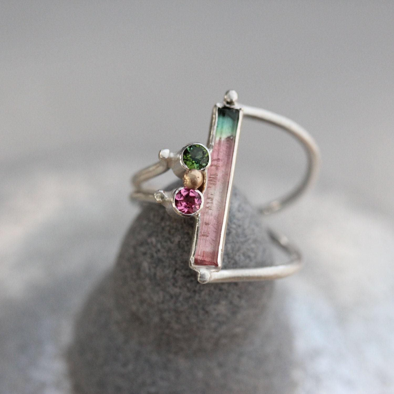 Watermelon Tourmaline Silver Gold Ring Unique Pink Green