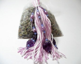 Lavender Closet Freshener with Purple and White Beaded Tassel