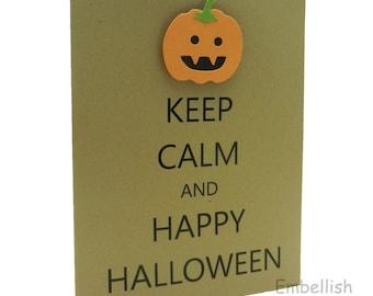 Pumpkin Halloween Cards - Keep Calm and Happy Halloween - Handmade - 10 Pack
