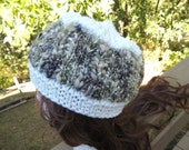 White and Varigated Knitted Winter Hat