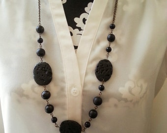 Black Lava Rock Antique Brass Beaded Necklace - Shena