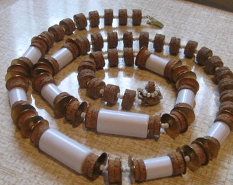 Vintage Signed Miriam Haskell Necklace Cork Bead White Cylindrical Gold Spacers