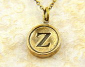 Letter Z Necklace - Bronze Initial Typewriter Key Charm Necklace - Gwen Delicious Jewelry Design GDJ
