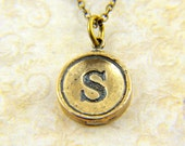 Letter S Typewriter Key Pendant Necklace Charm - Bronze - Other Letters Available