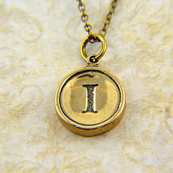 Letter I Necklace - Bronze Initial Typewriter Key Charm Necklace - Gwen Delicious Jewelry Design GDJ