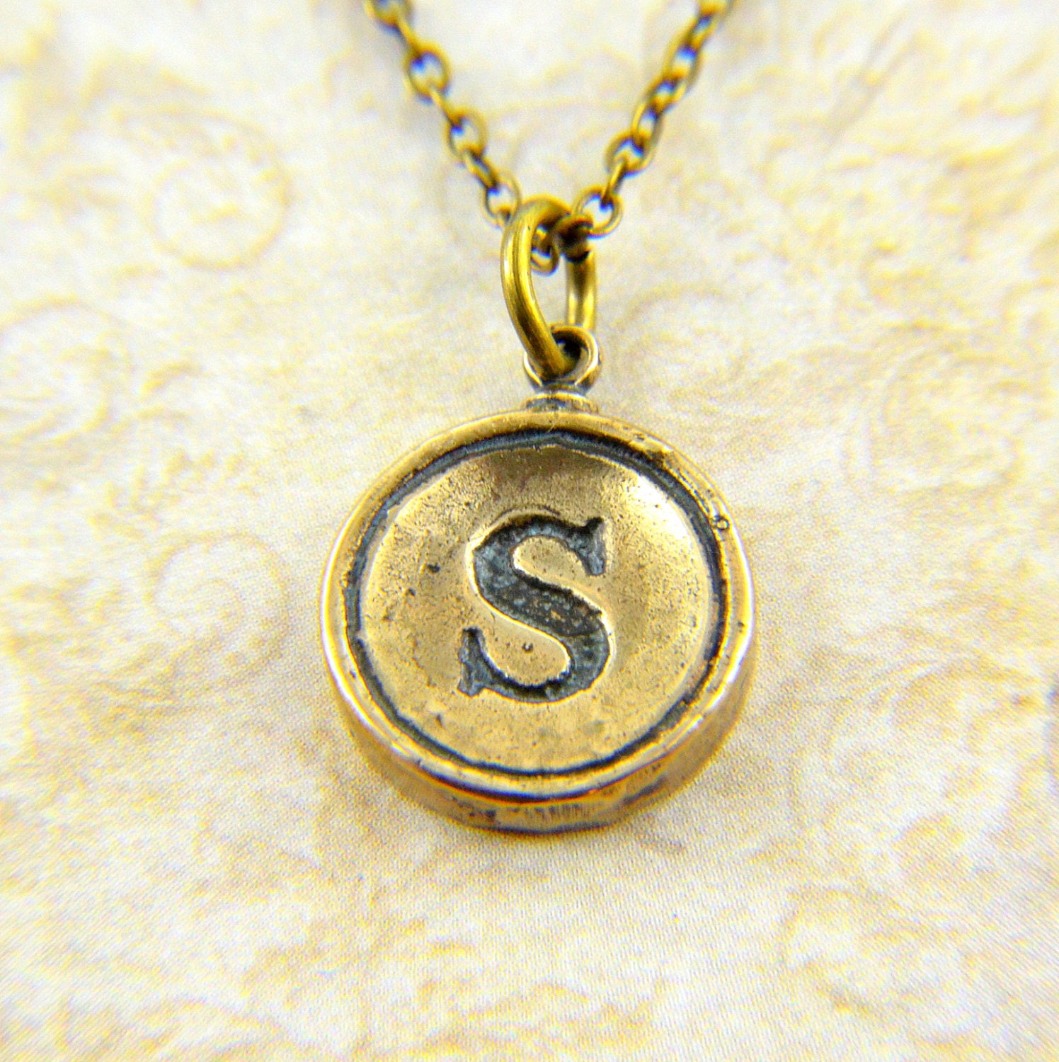 Letter S Typewriter Key Pendant Necklace Charm - Bronze - Other Letters Available steampunk buy now online